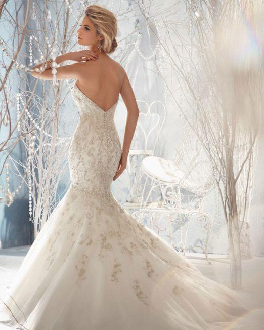 Mermaid wedding dress with crystals