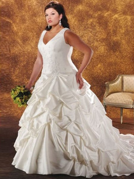 A-line princess plus size wedding dress