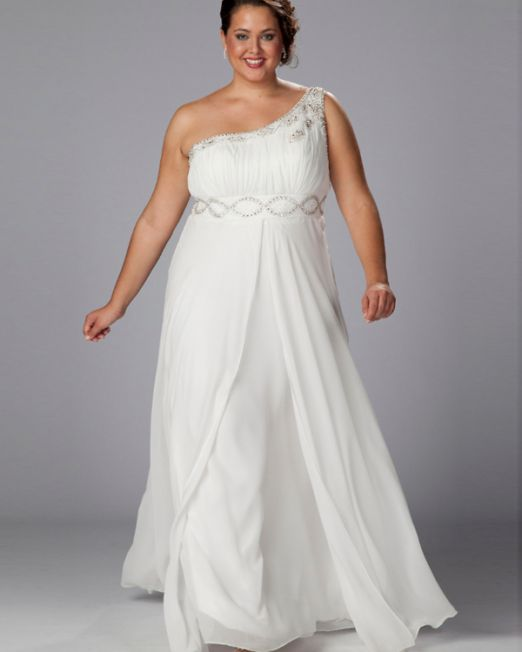 Laurie one shoulder plus size wedding dress