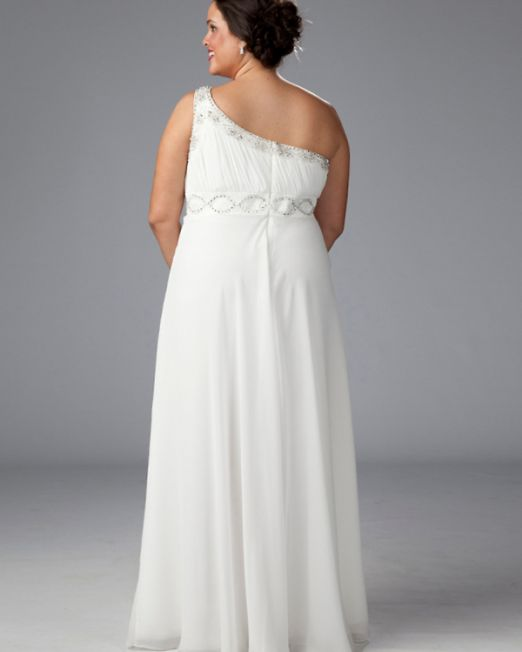 Laurie one shoulder plus size wedding gown