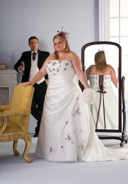 strapless a-line plus size wedding dress