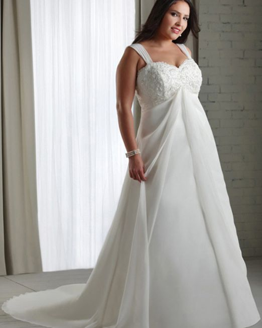 Lulu A line chiffon plus size wedding dress