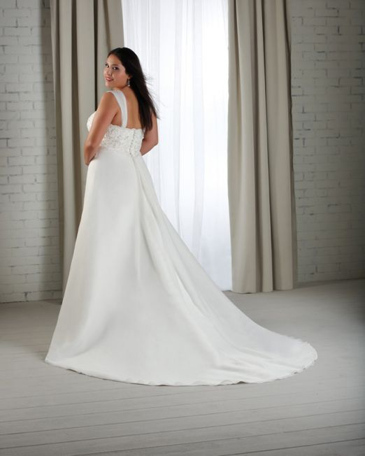 Lulu A line chiffon plus size wedding gown