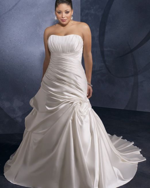 Marelise a line strapless plus size wedding gown