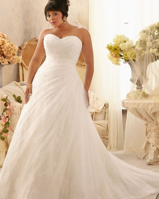 Nancy A line tube sweetheart plus size wedding dress