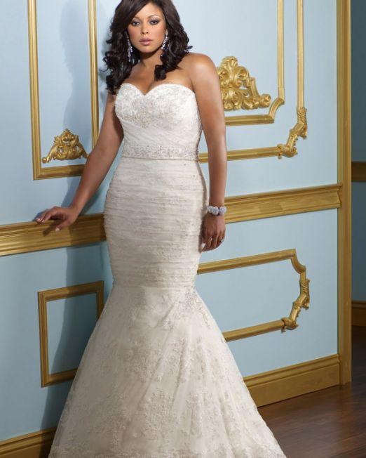 Pamela trumpet sweetheart plus size wedding dress
