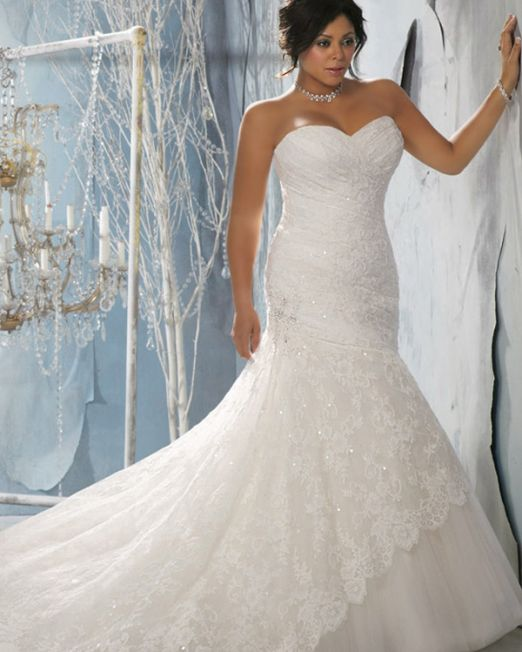 Sharon trumpet plus size wedding dress with lace