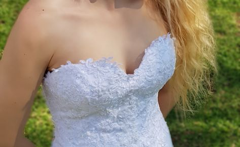 Beautiful white classic satin and lace wedding gown